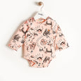 KRUSH - Printed Long Sleeves Bodysuit - Baby Girl - Pink cat print