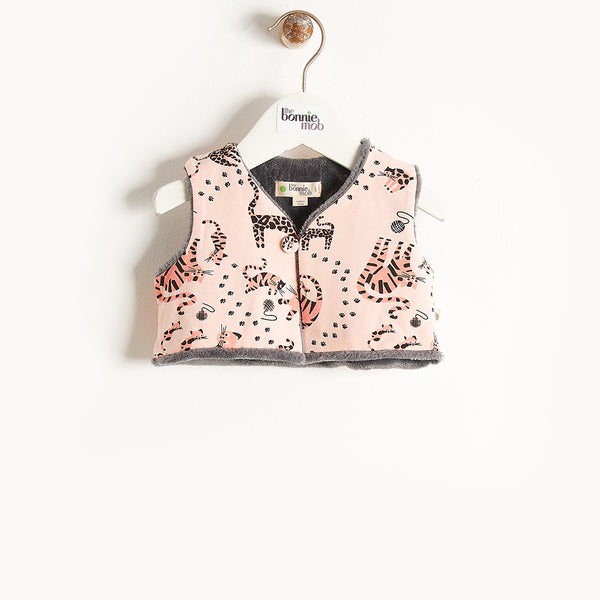 KUDDLES - Reversible Gilet With Faux Fur Lining - Baby Girl - Pink cat print
