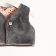KUDDLES - Reversible Gilet With Faux Fur Lining - Kids Girl - Pink cat print