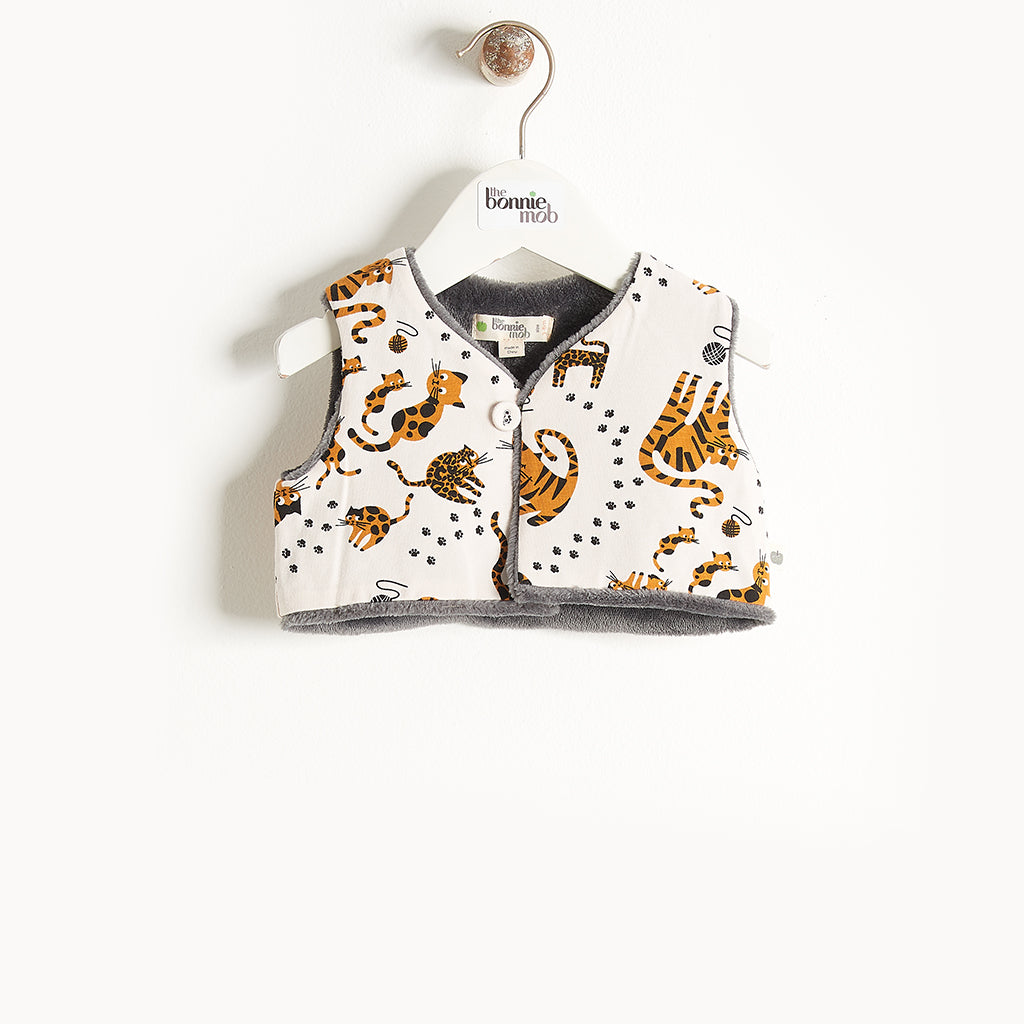KUDDLES - Reversible Gilet With Faux Fur Lining - Baby Unisex - Sand cat print