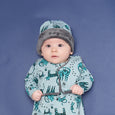 KUDDLES - Reversible Gilet With Faux Fur Lining - Kids Boy - Teal cat print