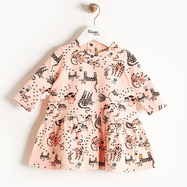 KUTIE - Printed Full Frill Dress - Baby Girl - Pink cat print