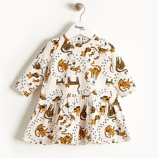 KUTIE - Printed Full Frill Dress - Kids Girl - Sand cat print