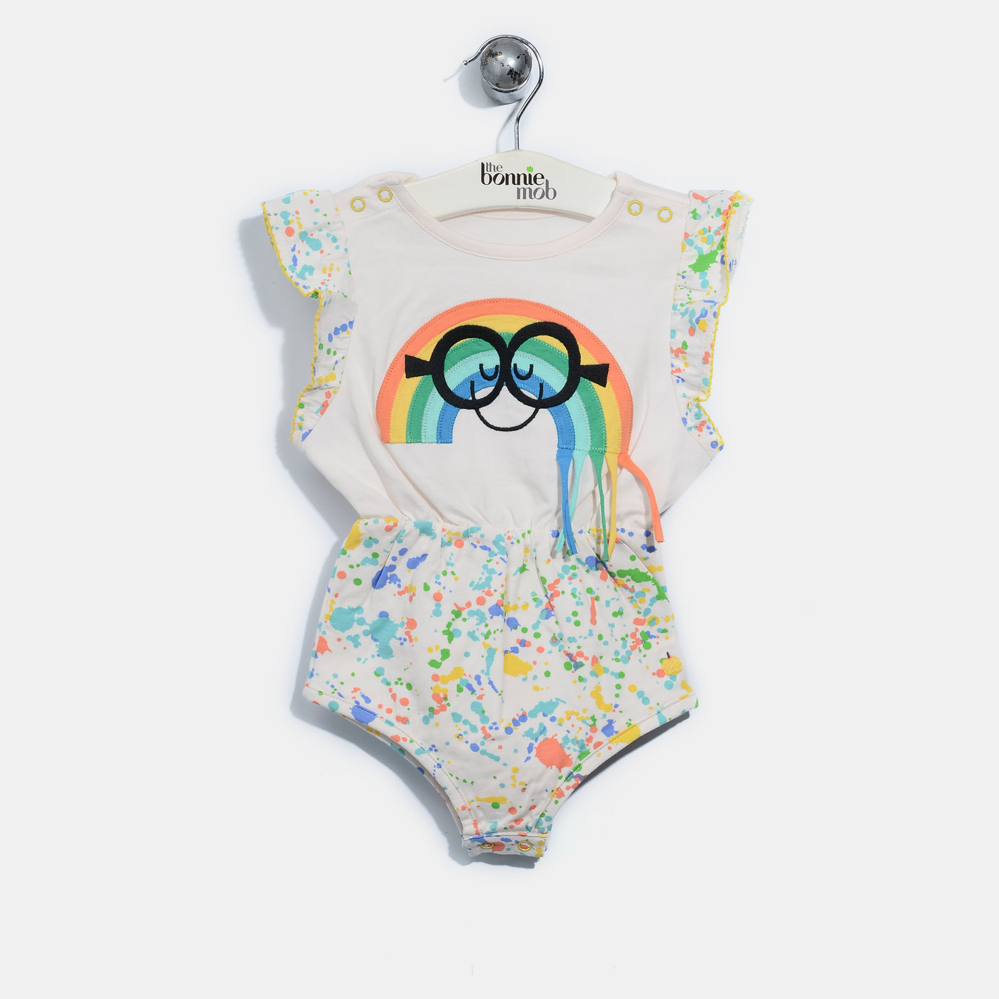 L-ANNA-Smiley Rainbow Tassel Shorty Romper-Baby Girl-Splatter