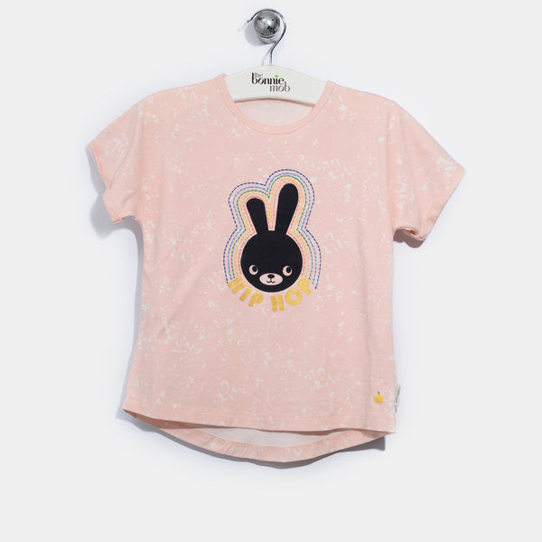 L-BUNNY-Hip Hop Bunny T-shirt-Baby Girl-Blush