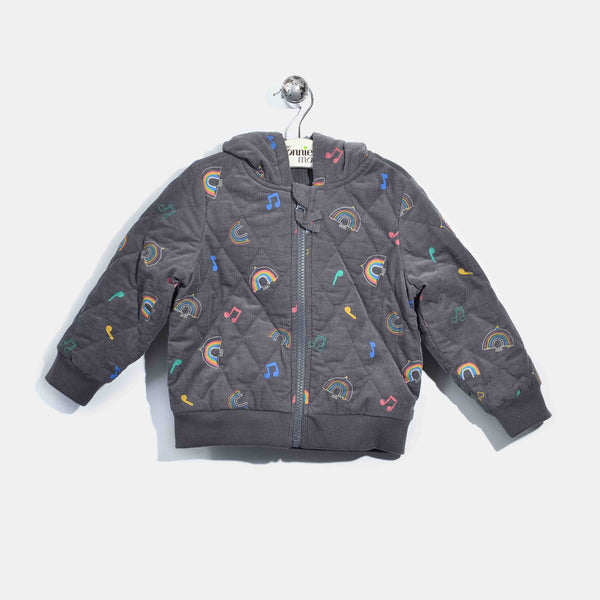 L-CARA-Mini Rainbow Corduroy Hooded Jacket-Kids-Rainbow Print