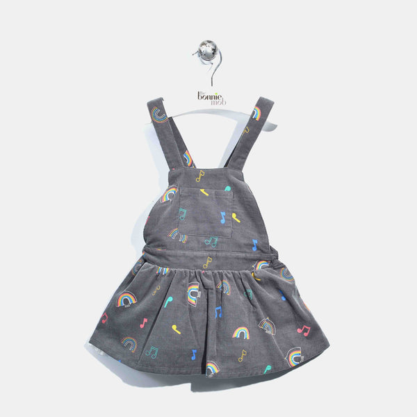 L-CAT-Corduroy Dungaree Dress-Kids Girl-Rainbow Print