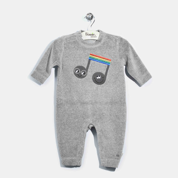 L-CLARA-Velour Applique Playsuit-Baby-Grey