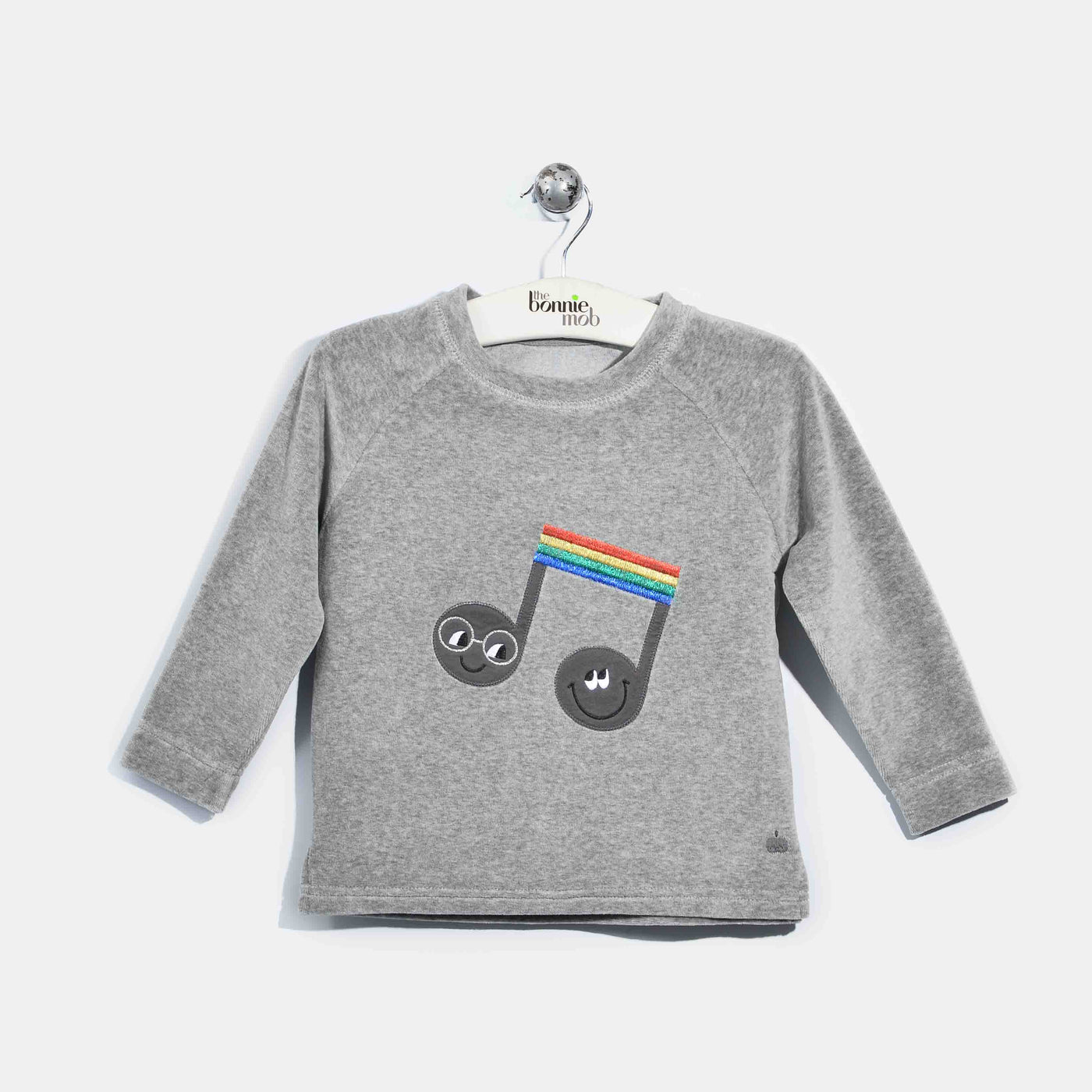 L-CLAUDE-Velour Applique Jumper-Kids-Grey