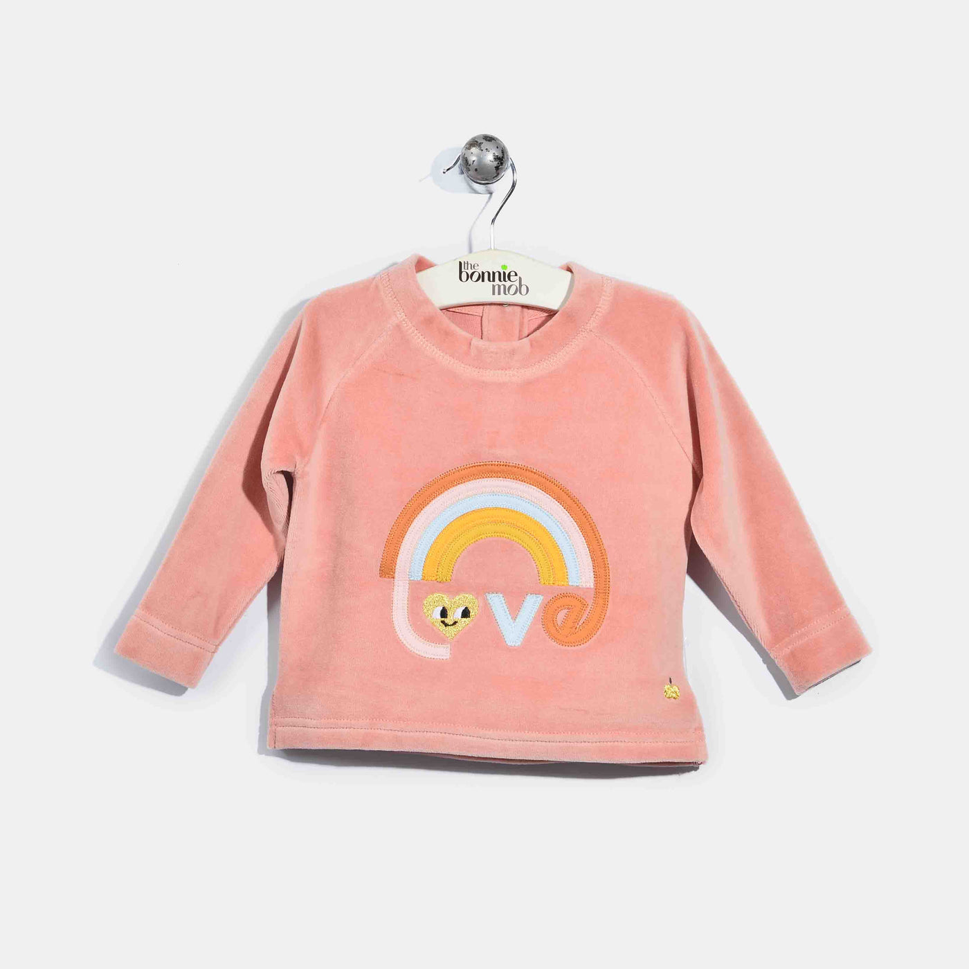 L-CLAUDE-Velour Applique Jumper-Baby Girl-Pink
