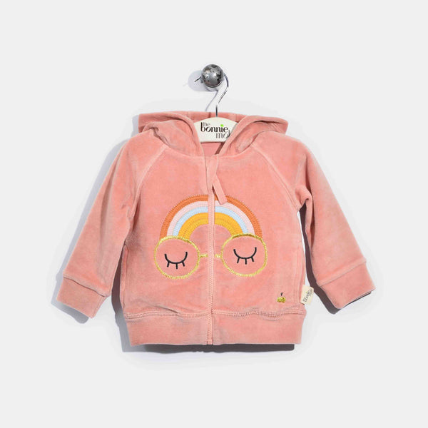 L-CURTIS-Velour Applique Zip Hoodie-Baby Girl-Pink