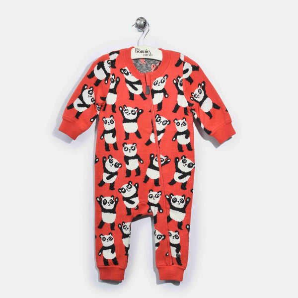 L-GIGI-Panda Repeat Romper Suit-Baby Girl-Red