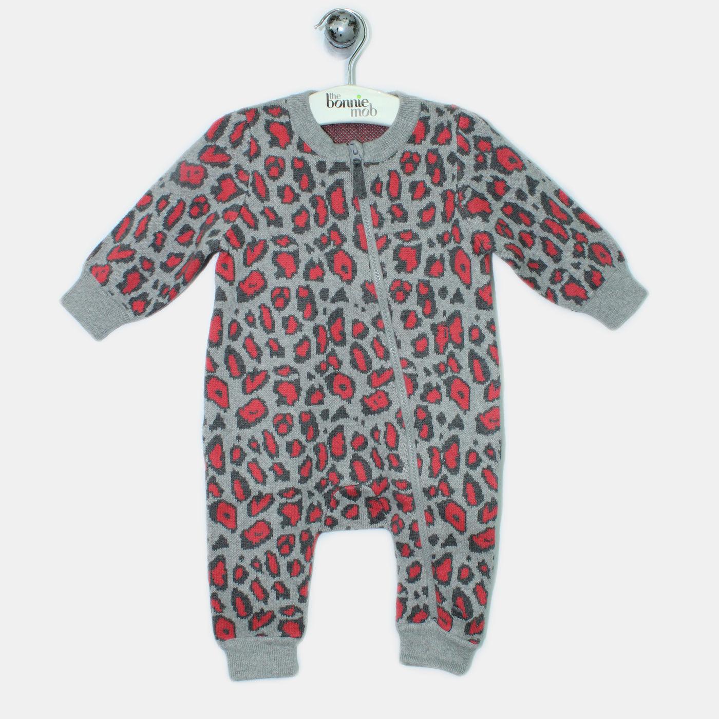 L-LEON-Leopard Print Playsuit-Baby Girl-Red