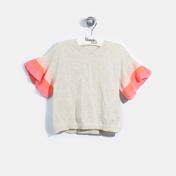 L-NISHA-Colourblock Ruffle Sleeve Top-Baby Girl-Blush