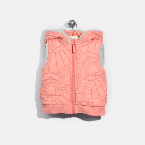 L-NORMAN-Dove Embroidered Gilet-Kids Girl-Pink