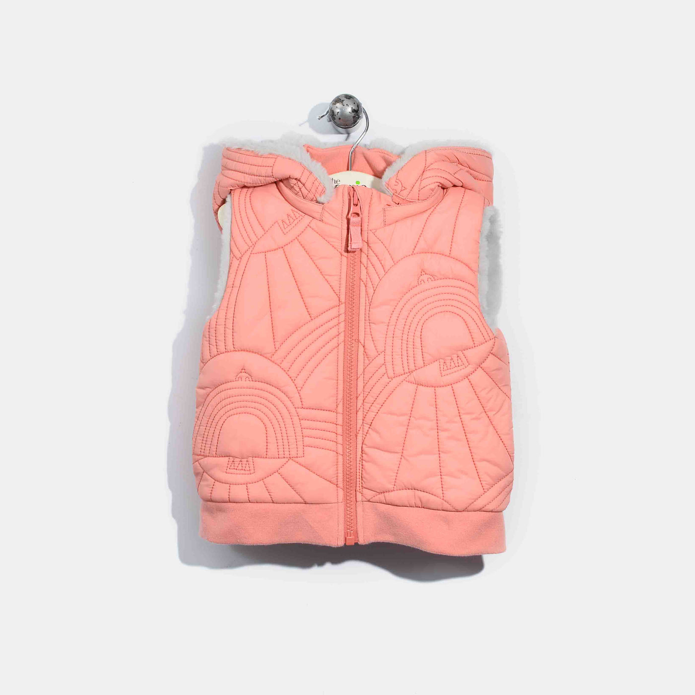 L-NORMAN-Dove Embroidered Gilet-Baby Girl-Pink