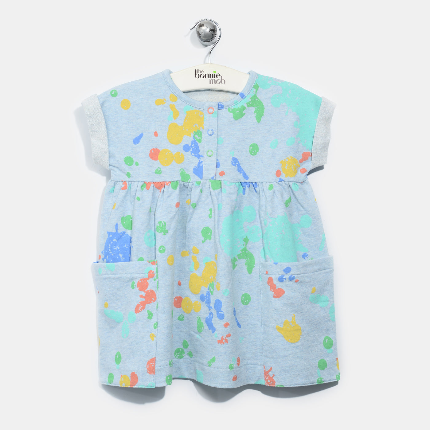 L-RACHEL-Splatter Print Dress-Baby Girl-Faded Denim