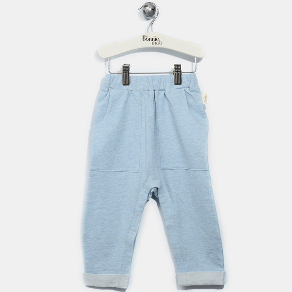 L-REX-Smiley Rainbow Trousers-Baby-Faded Denim