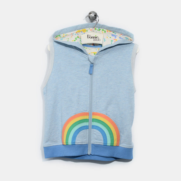 L-ROBIN-Smiley Rainbow Hooded Gilet-Baby-Faded Denim