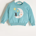 LALA - Unisex Kids Knitted Moon & Bunny Sweater - Pale Teal