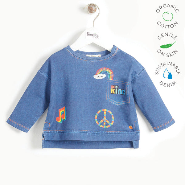 LANE - Kids Printed Eco Denim Sweatshirt  - DENIM BADGES