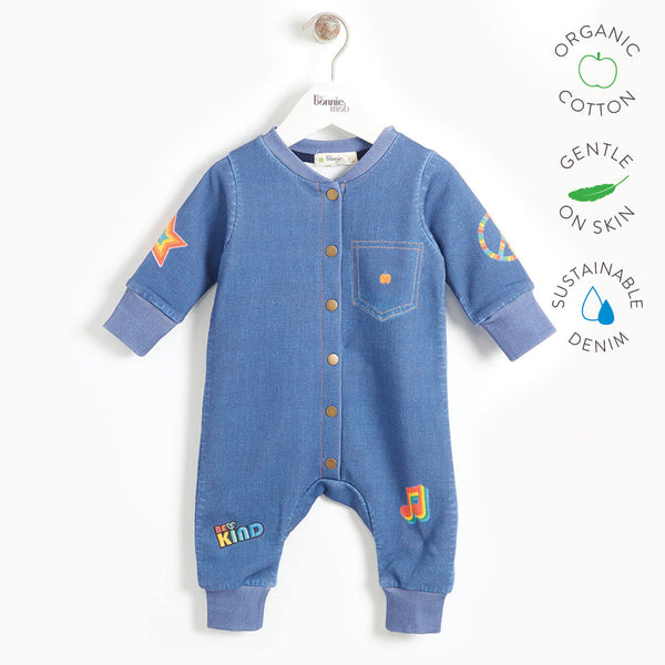LET IT BE - Baby Printed Eco Denim Onesie - DENIM BADGES