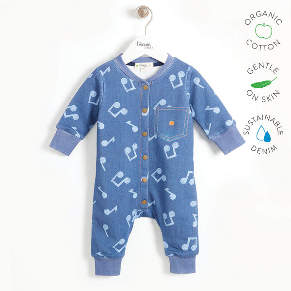LET IT BE - Baby Printed Eco Denim Onesie - MUSIC DENIM