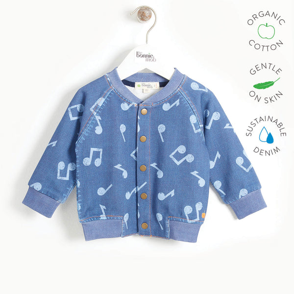 LIGHT - Baby Printed Eco Denim Bomber Jacket - MUSIC DENIM