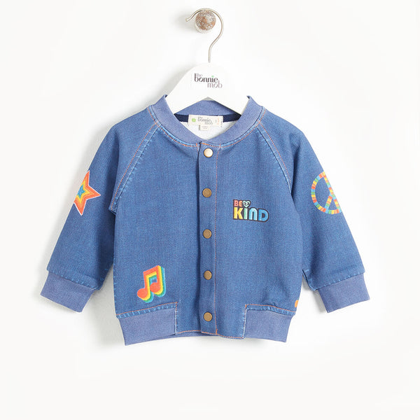 LIGHT - Kids Printed Eco Denim Bomber Jacket  - DENIM BADGES