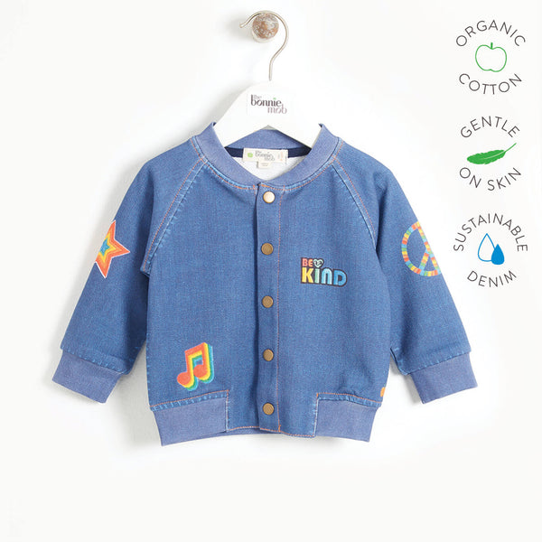 LIGHT - Baby Printed Eco Denim Bomber Jacket - DENIM BADGES