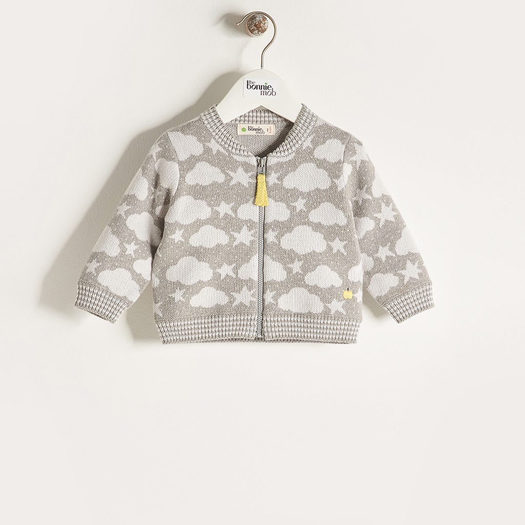 LOON - Unisex Baby Knitted Stars & Clouds Zip Cardigan - Greys
