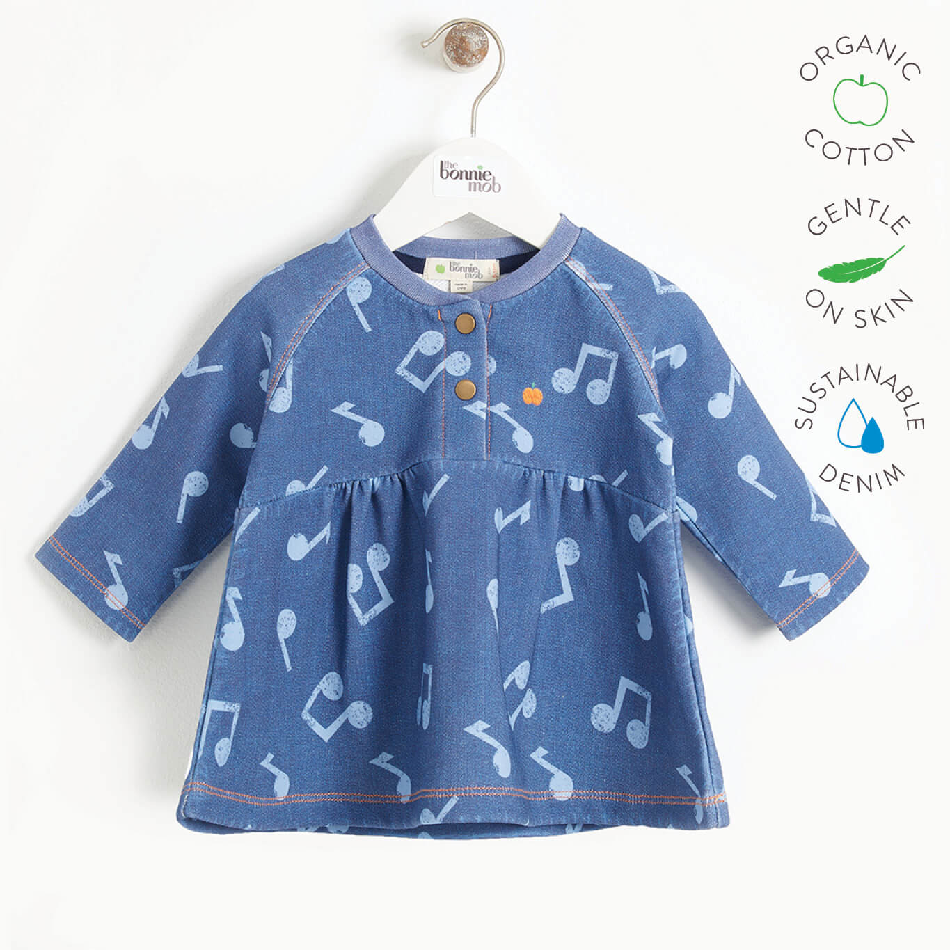 LUCY - Baby Girl Printed Eco Denim Dress - MUSIC DENIM