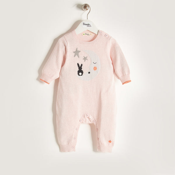 LUNA - Baby Girl Knitted Moon & Bunny Playsuit - Pale Pink