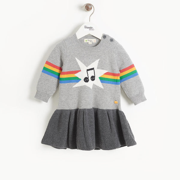 MAGGIE - Baby Girl Rainbow Music Intarsia Dress - GREY