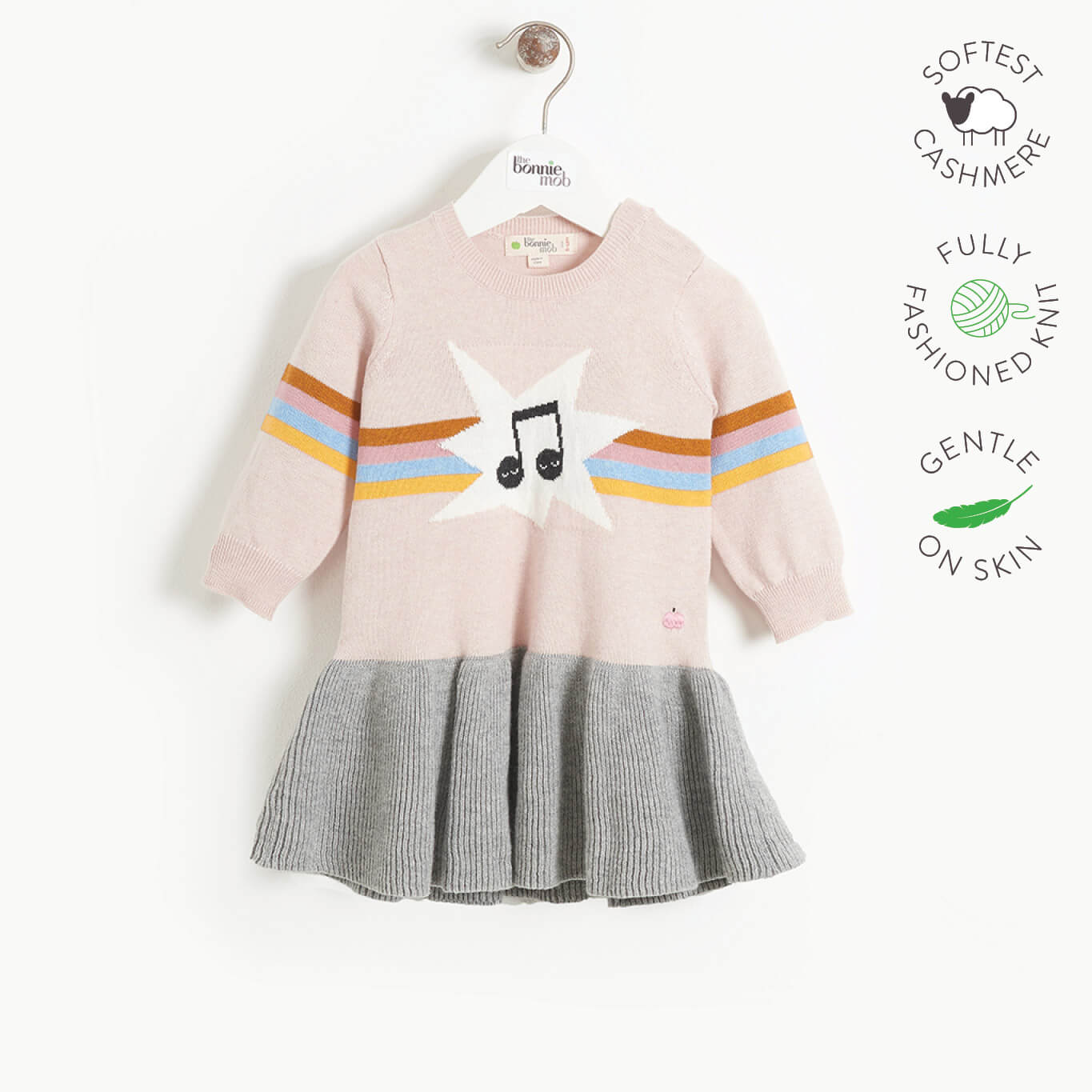 MAGGIE - Girls Rainbow Music Intarsia Dress  - PINK