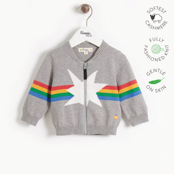MAGICAL - Kids Rainbow Star Intarsia Cardigan  - GREY