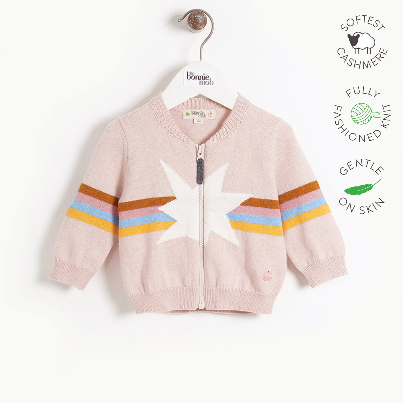 MAGICAL - Kids Rainbow Star Intarsia Cardigan  - PINK