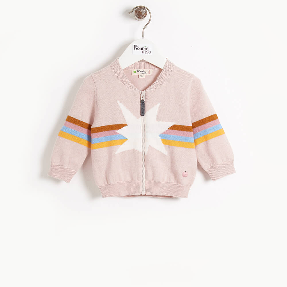 MAGICAL - Baby Rainbow Star Intarsia Cardigan - PINK