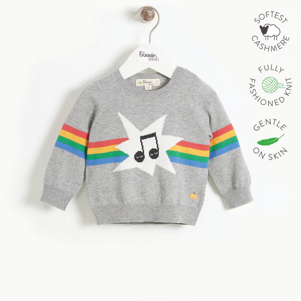 MANHATTAN - Kids Rainbow Music Intarsia Sweater  - GREY