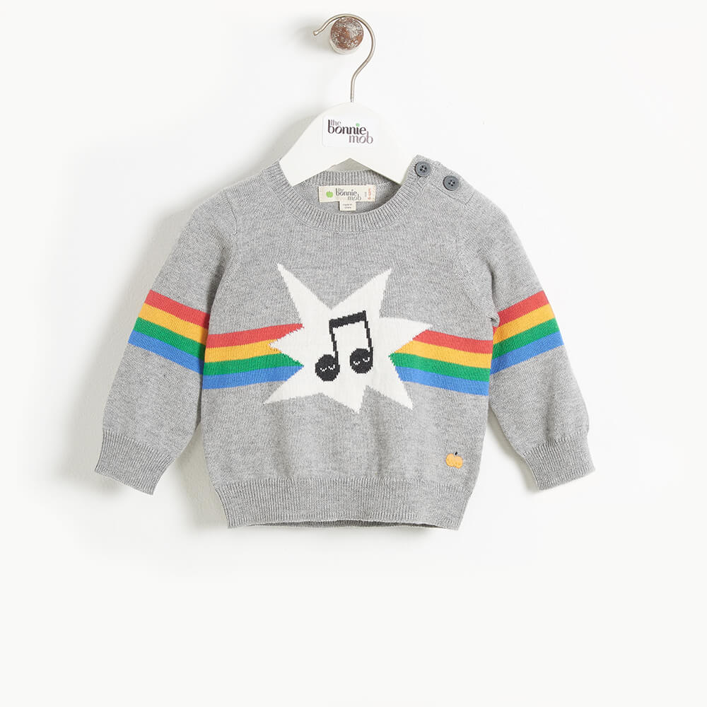 MANHATTAN - Baby Rainbow Music Intarsia Sweater - GREY