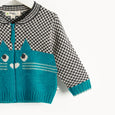 MARIO - Cat Intarsia Cardigan - Baby Boy - Teal