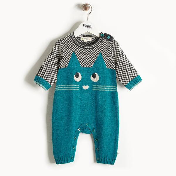 MARKIE - Cat Intarsia Playsuit - Baby Boy - Teal