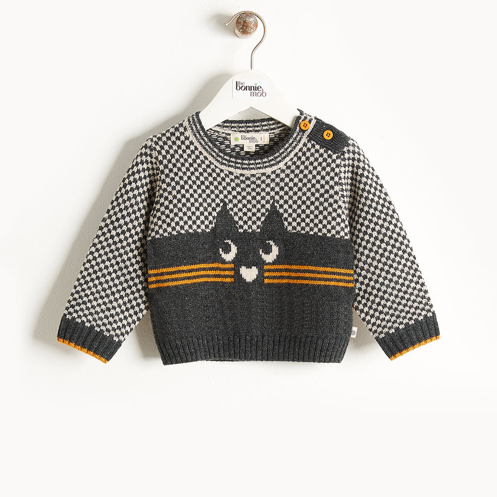 MAYFIELD - Cat Intarsia Sweater - Baby Unisex - Monochrome