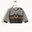 MAYFIELD - Cat Intarsia Sweater - Kids Unisex - Monochrome