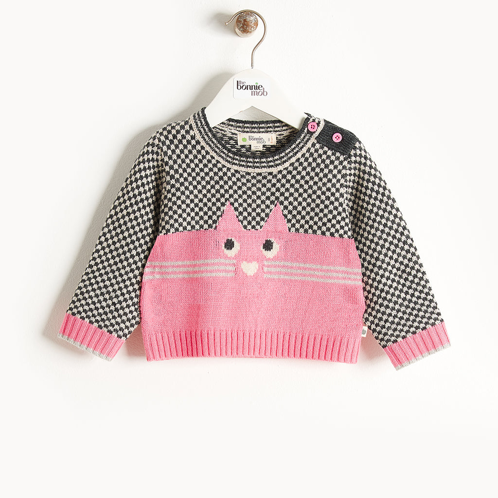 MAYFIELD - Cat Intarsia Sweater - Baby Girl - Pink