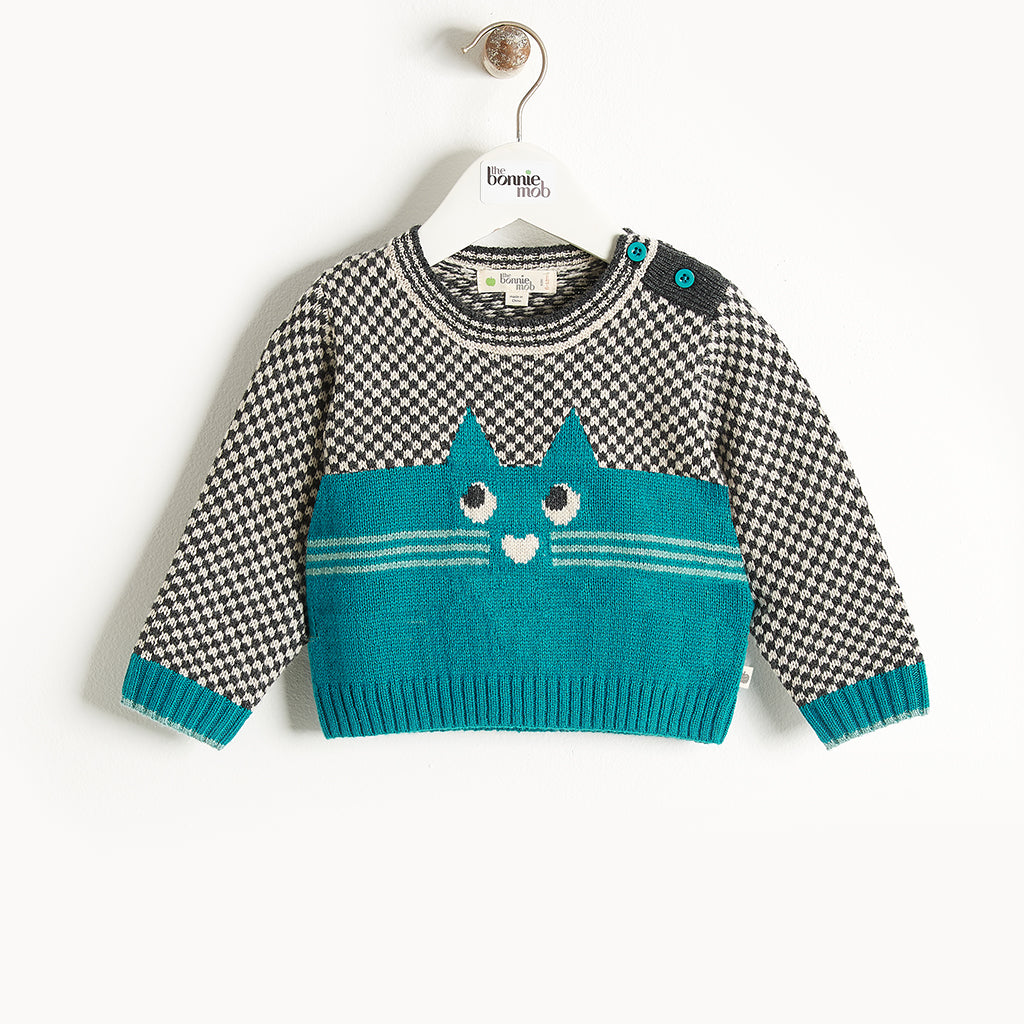 MAYFIELD - Cat Intarsia Sweater - Baby Boy - Teal