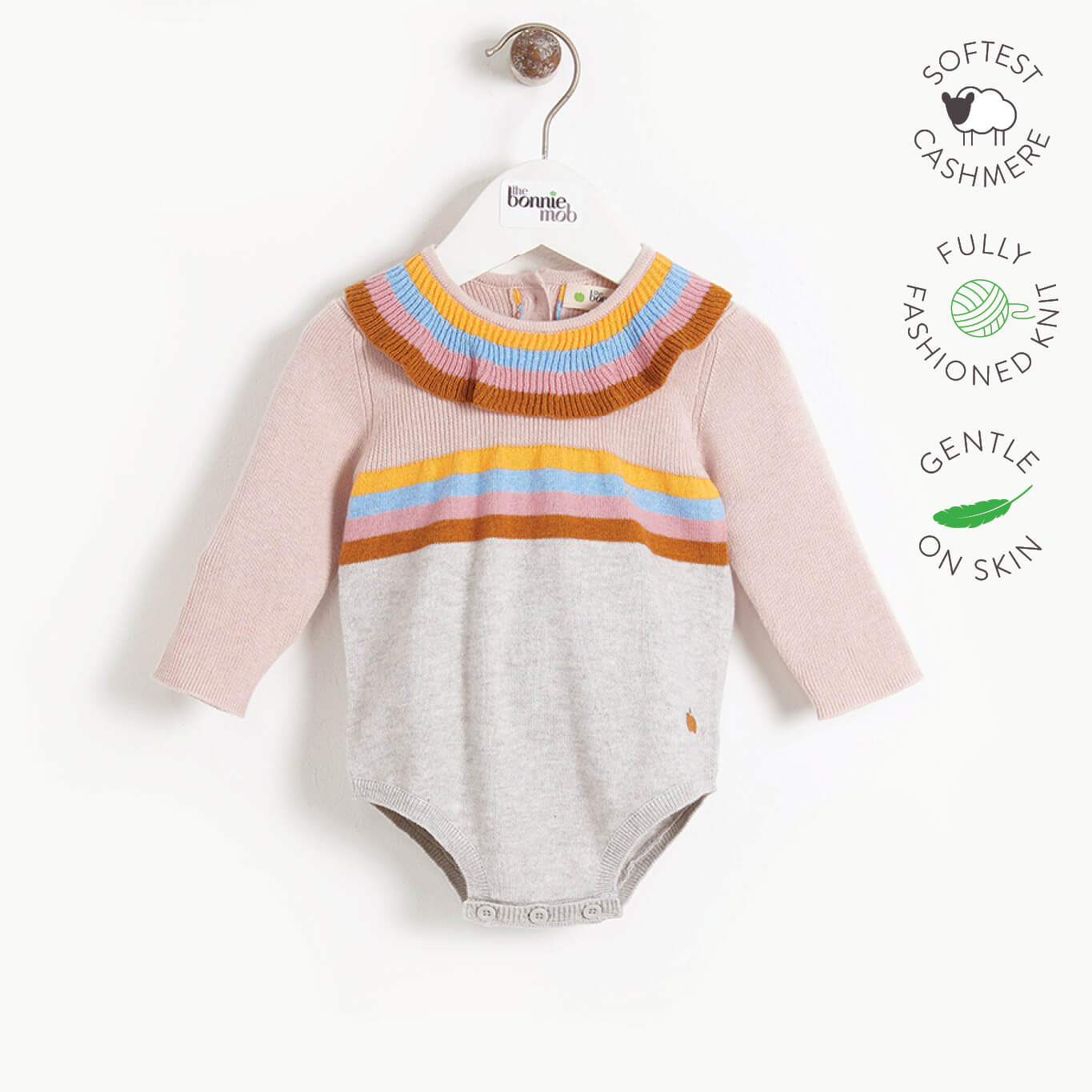 MCCARTNEY - Baby Knitted Romper - PINK