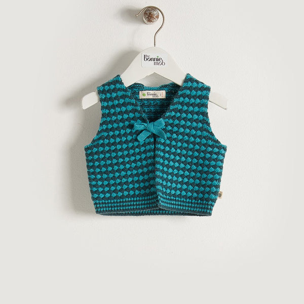 MIKO - Unisex Baby Chunky Knitted Gilet - Teal