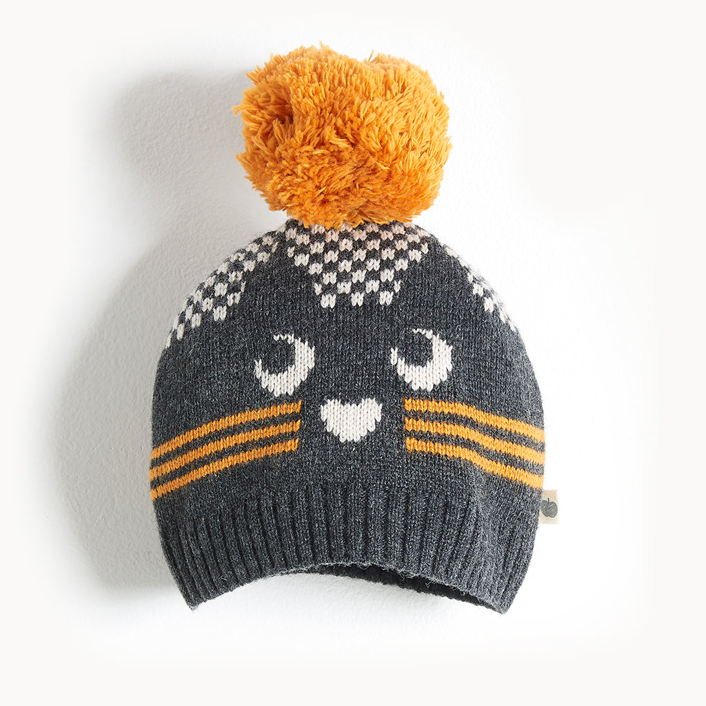 MOE - Cat Intarsia Hat - Kids Unisex - Monochrome