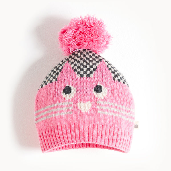MOE - Cat Intarsia Hat - Baby Girl - Pink